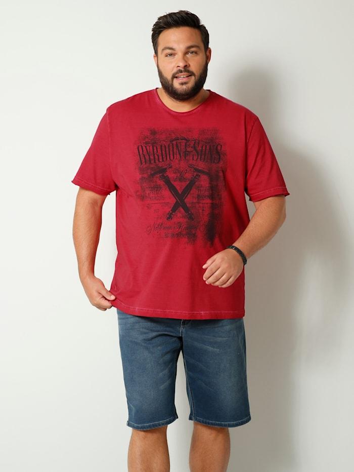 Men Plus T-Shirt in Oil Washed Optik, Rot
