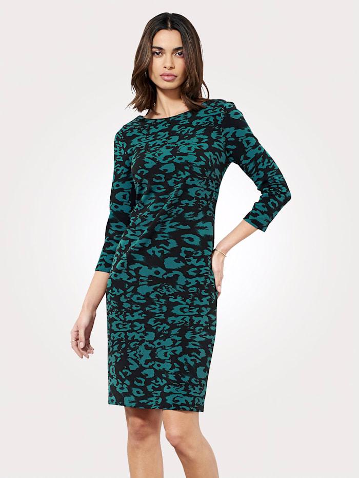 Dress with turquoise animal print