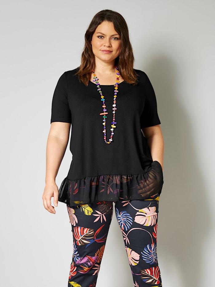 Sara Lindholm Shirt met volant, Zwart