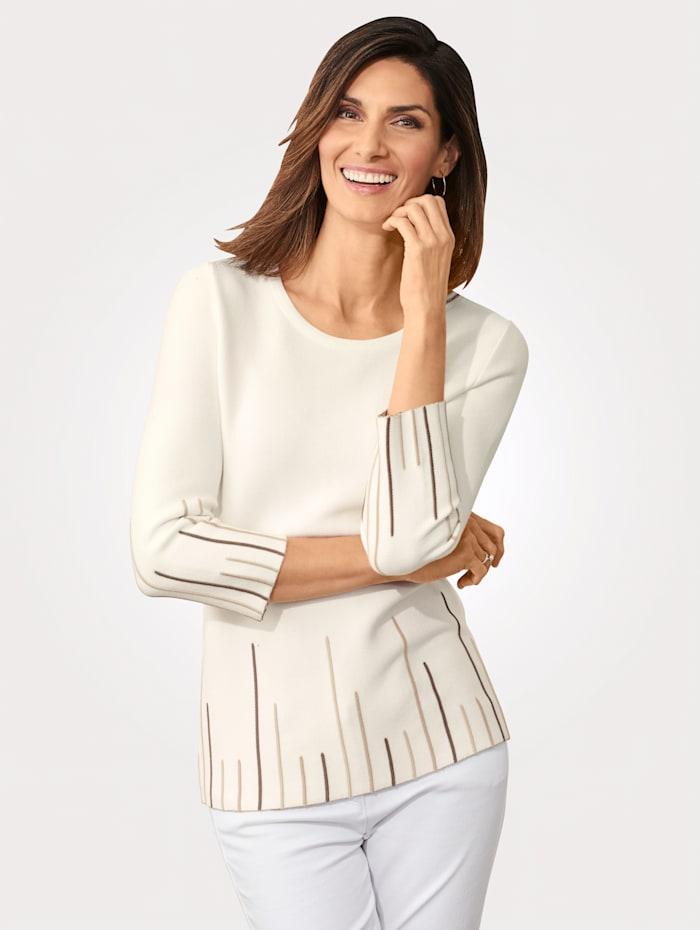 MONA Pullover mit Streifenmuster, Ecru/Taupe