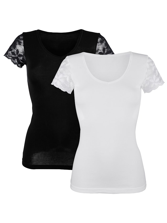 HERMKO Lyhythihainen paita, Valkoinen/Musta