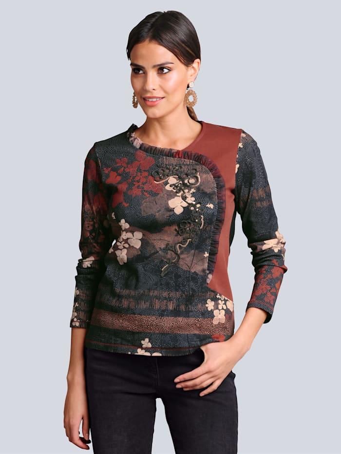 Alba Moda Shirt in patchworklook, Antraciet/Koperkleur