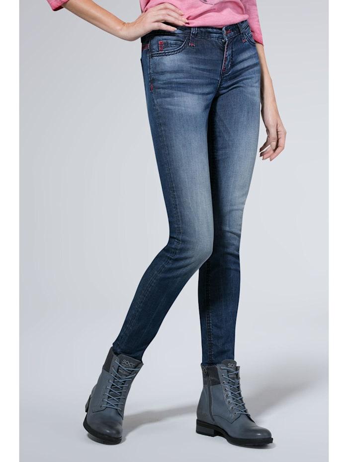 SOCCX Jeans HE:DI mit Used-Optik und farbigen Steppnähten, dark blue vintage