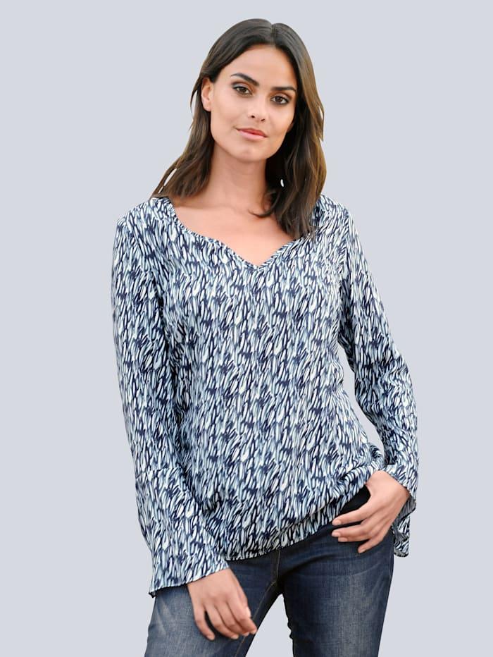 Alba Moda Bluse im abstrakten Dessin, Blau/Weiß/Salbeigrün