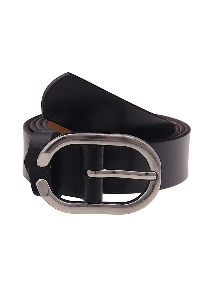 Leslii Ledergürtel mit ovaler Schnalle, schwarz
