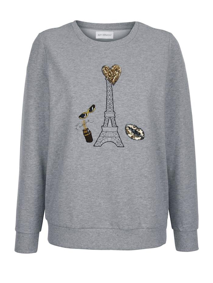 Sweatshirt mit Stickerei und Paillettendekoration