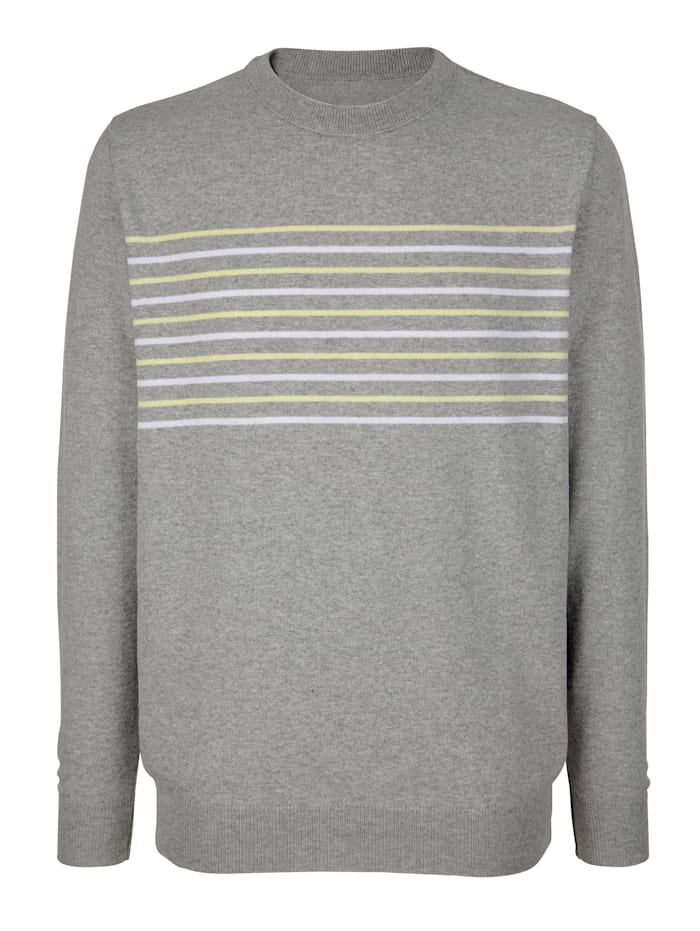 Roger Kent Pullover mit Streifen, Grau/Weiß