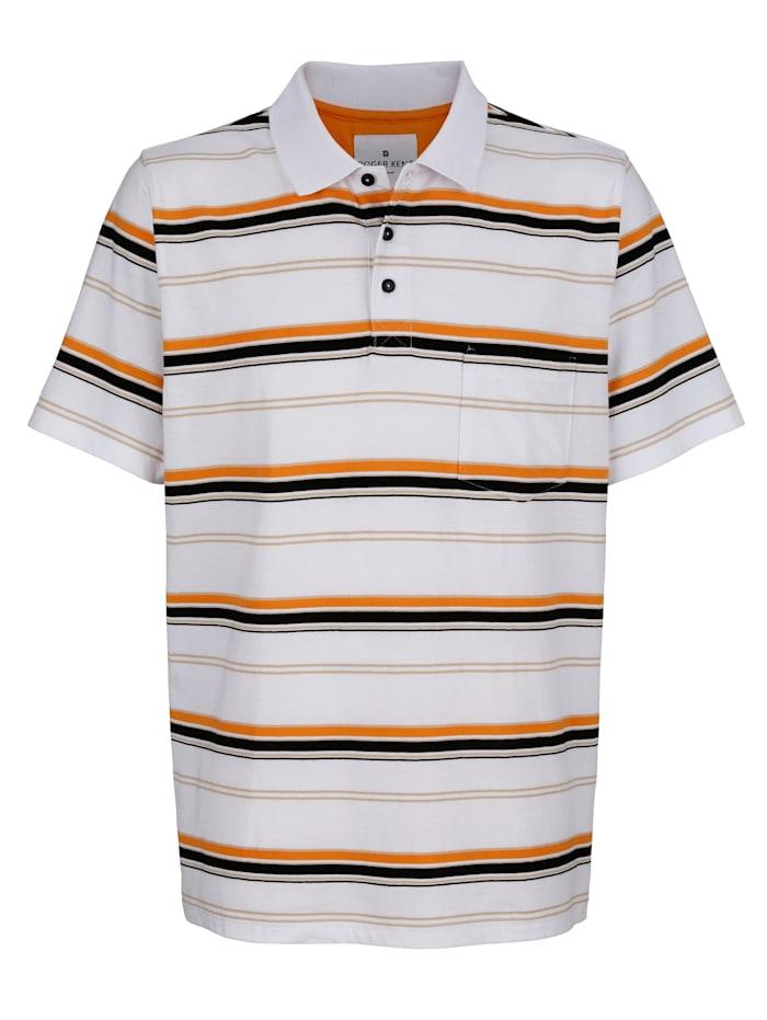 Roger Kent Poloshirt aus reiner Baumwolle, Weiß/Sand/Orange