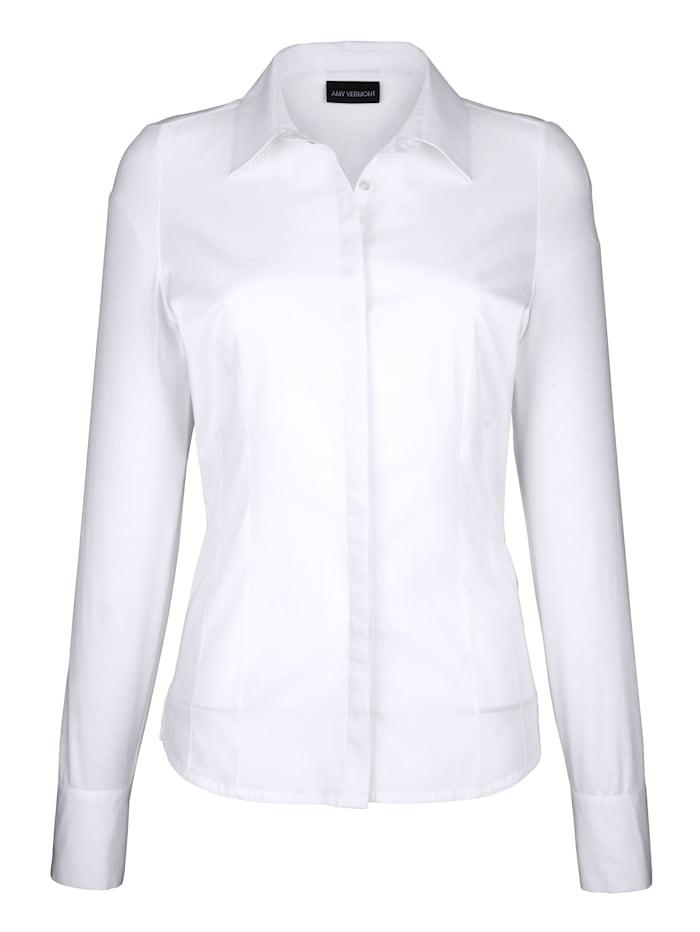 Bluse mit Vorderteil aus Webware und Rückteil & Ärmel aus elastischer Jerseyqualität