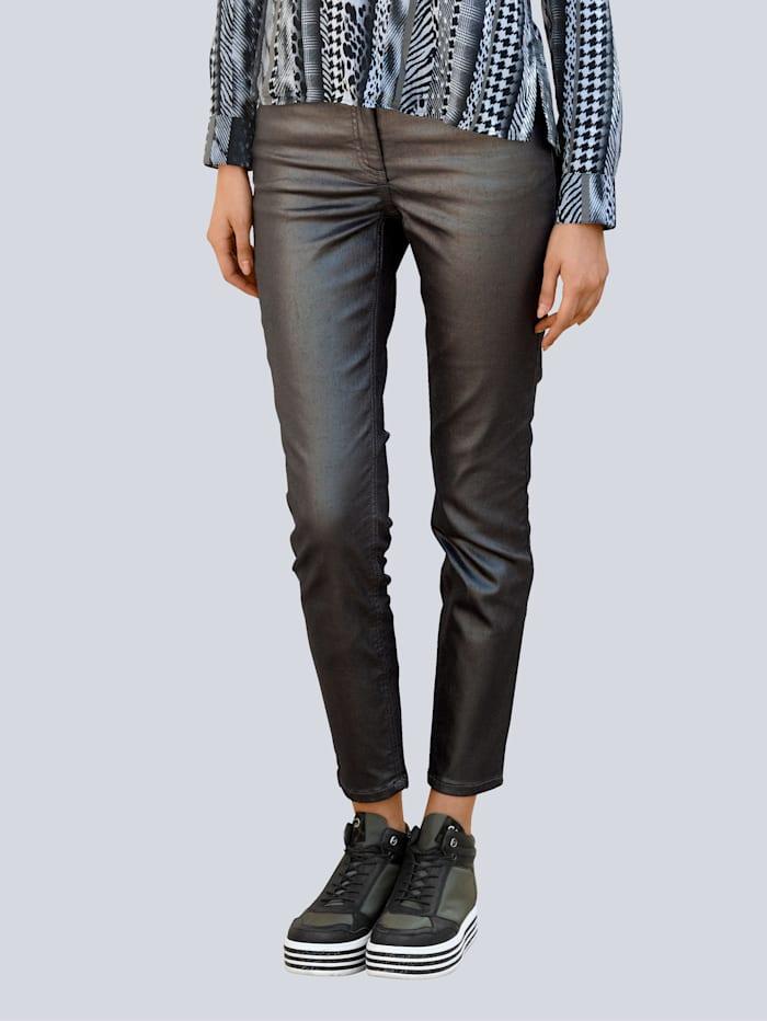 Alba Moda Jeans mit Metallic-Effekt, Khaki