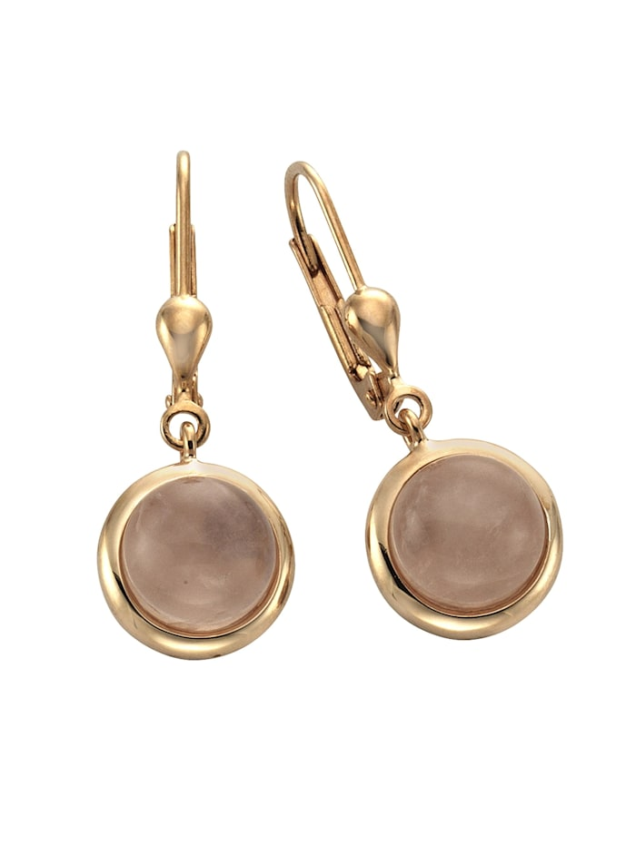 ZEEme Ohrhänger 925/- Sterling Silber Rosenquarz rosa 2,7cm rotvergoldet 925/- Sterling Silber, rosa