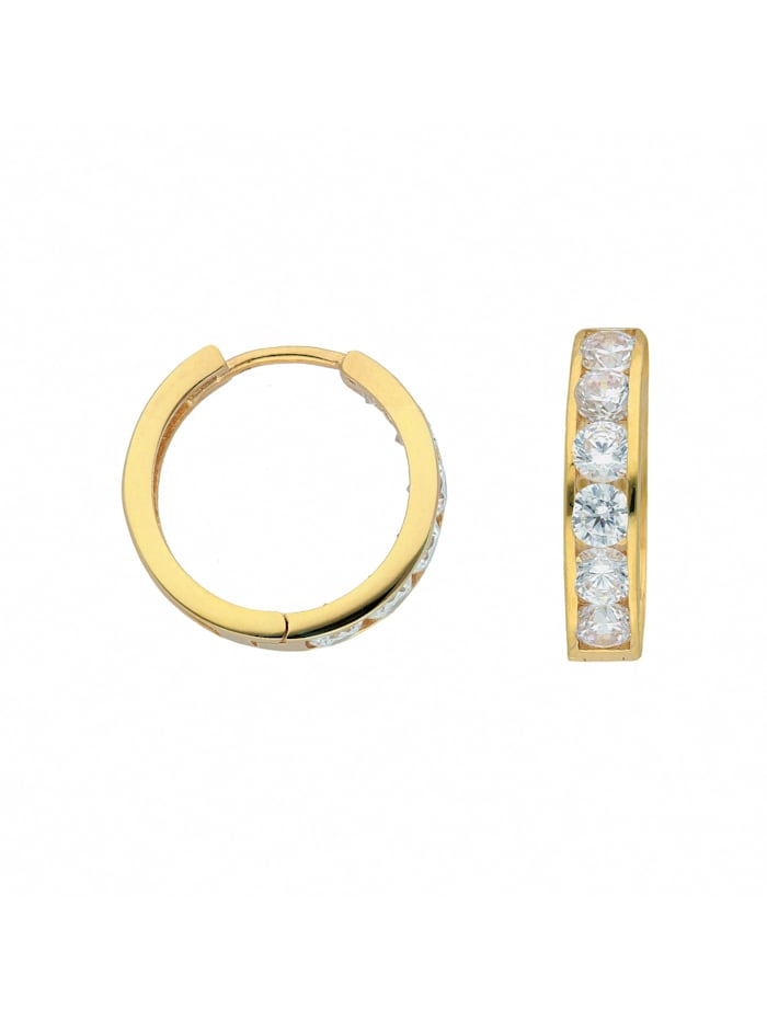 1001 Diamonds Damen Goldschmuck 585 Gold Ohrringe / Creolen mit Zirkonia Ø 15,7 mm, gold