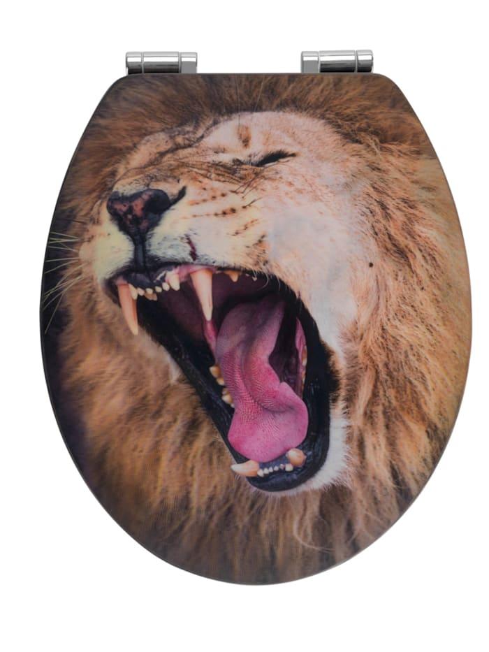WC-Sitz Lion mit 3D-Effekt, MDF, mit Absenkautomatik