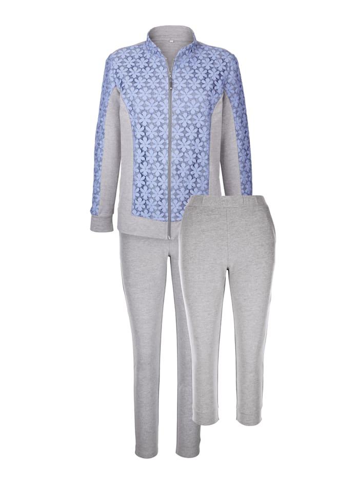 Simone Loungewear set with floral lace Set, Grey Mélange/Light Blue