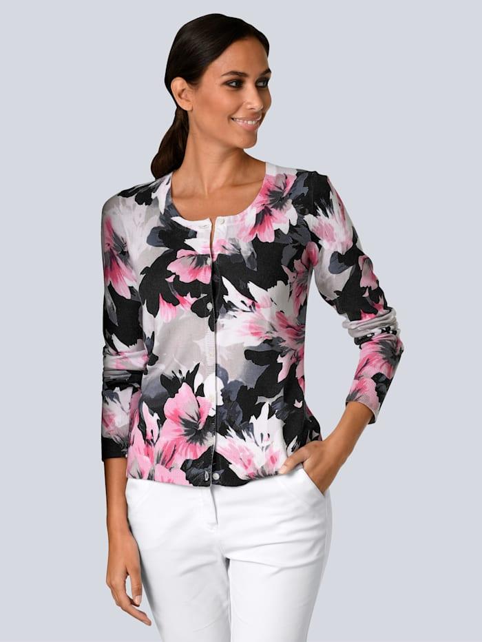 Alba Moda Strickjacke im Alba Moda exklusiven Dessin, Schwarz/Weiß/Pink/Grau
