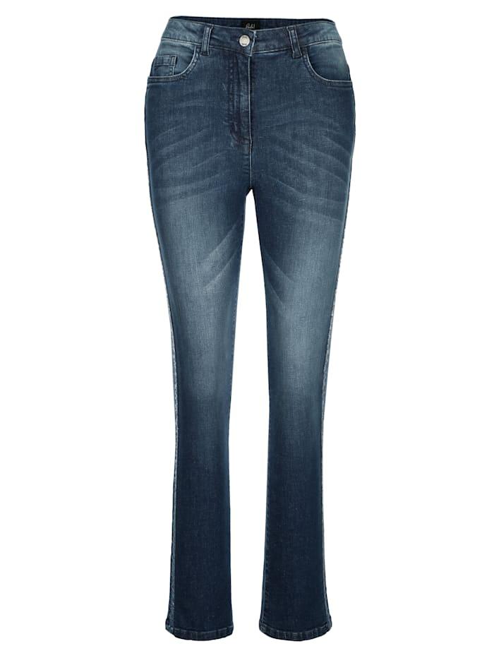 Jeans met paillettenband opzij