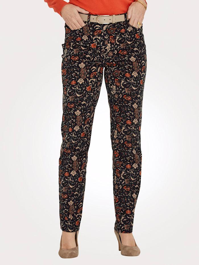 MONA Pantalon Flanelle douce très agréable à la peau, Noir/Brique