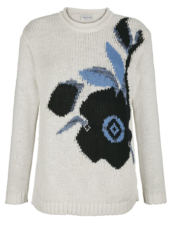 AMY VERMONT Pullover mit Intarsien-Strick im Vorderteil, Off-white