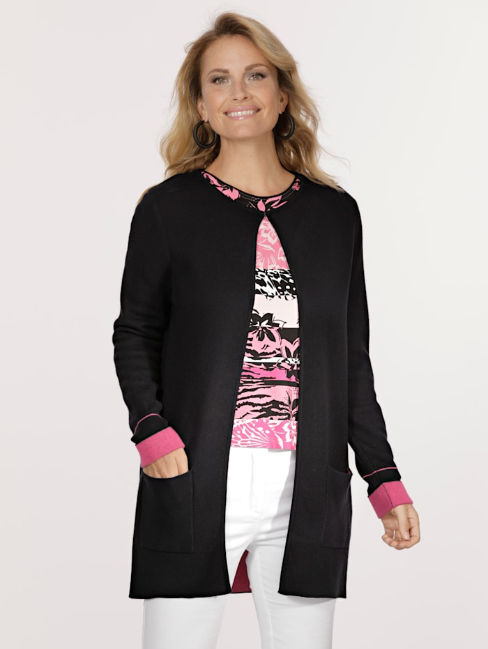 Cardigan made from double face fabric