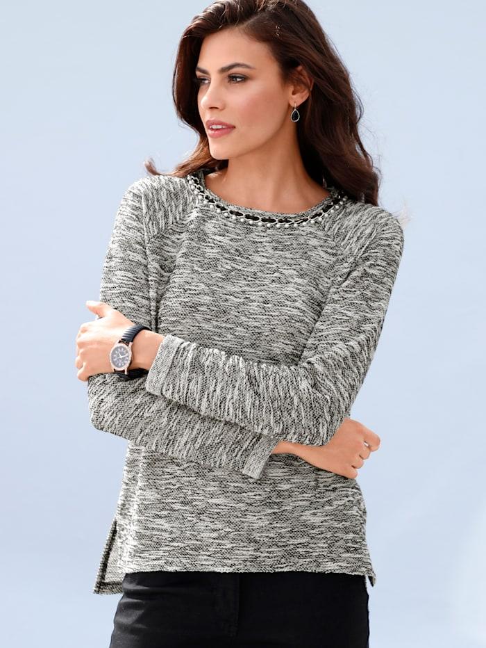 AMY VERMONT Sweatshirt mit dekorativer Kette am Ausschnitt, Grau/Off-white