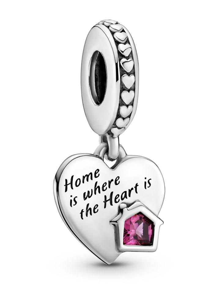 Pandora Charm-Anhänger -Herz- Liebe mein Zuhause- 799324C01, Silberfarben