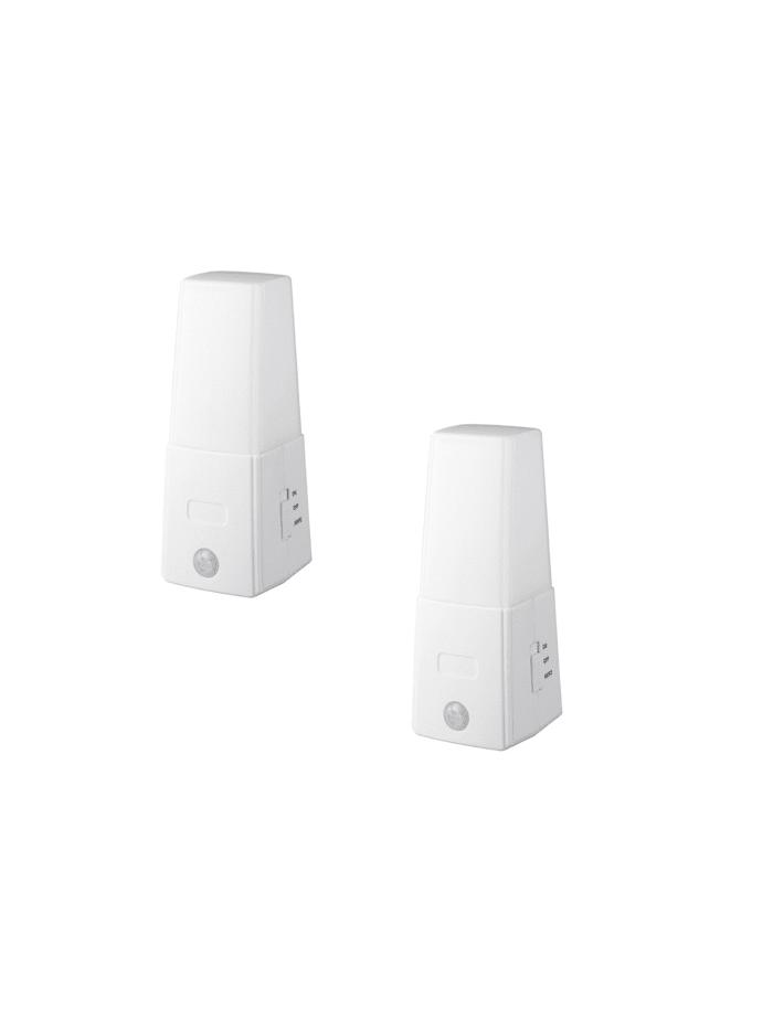 Wenko LED Nachtlicht mit Bewegungssensor 2er Set, Weiß