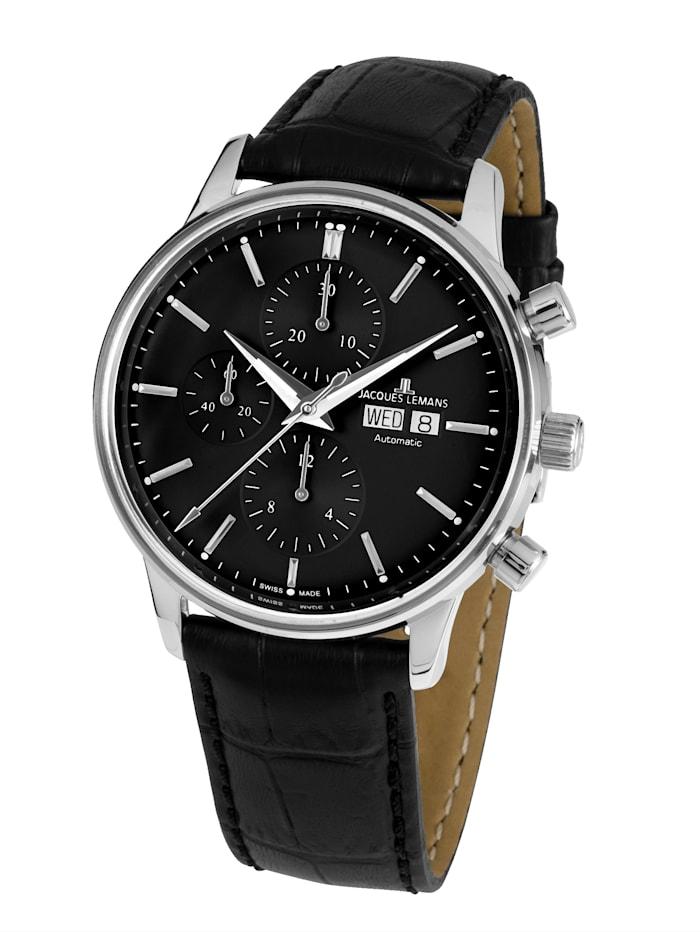 Jacques Lemans Herren-Uhr-Automatik-Chronograph Serie: Retro Classic Valjoux: N- 208B, Schwarz