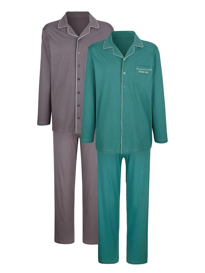 G Gregory Pyjama's per 2 stuks, Antraciet/Petrol