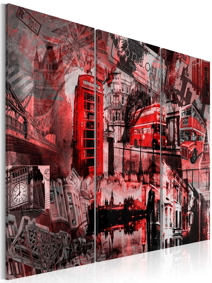 artgeist Wandbild Rotes London, Grau,Rot