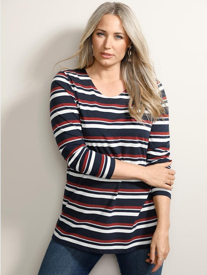 MIAMODA Shirt mit femininem Rundhalsausschnitt, Marineblau/Creme-Weiß/Rot