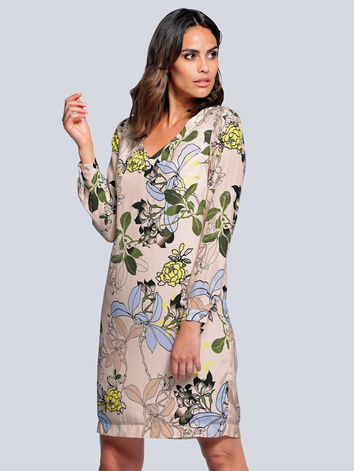 Alba Moda Kleid mit floralem Dessin, Sand/Blau