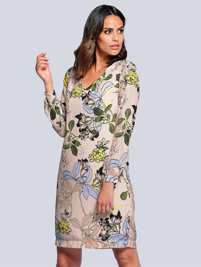 Alba Moda Šaty s květinovým vzorem, Písková/Modrá