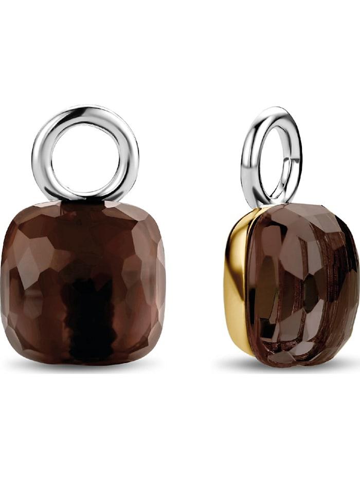 Ti Sento Milano Ti Sento - Milano Damen-Ohrringe 925er Silber Kristall, gold/braun