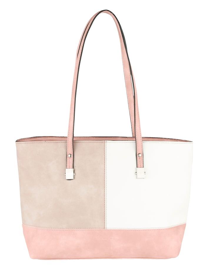 Sina Jo Shopper in een chique kleurencombinatie, beige/wit/roze