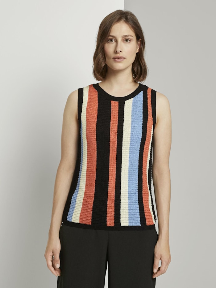 Tom Tailor Denim Ärmelloser Strickpullover mit Streifenmuster, multcolor vertical stripe