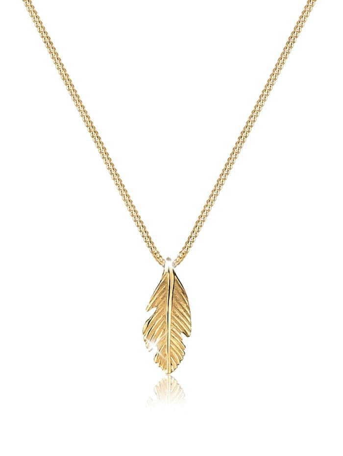 Elli Premium Halskette Feder Boho Look Luxuriös 585 Gelbgold, Gold