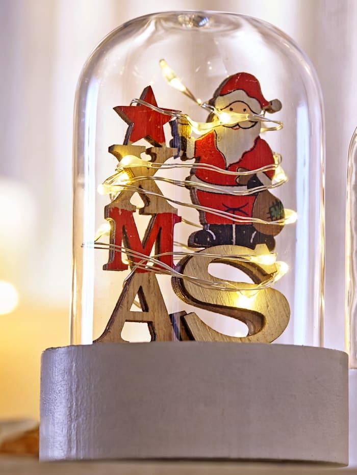 Sett med 2 julenisser i glasskuppel