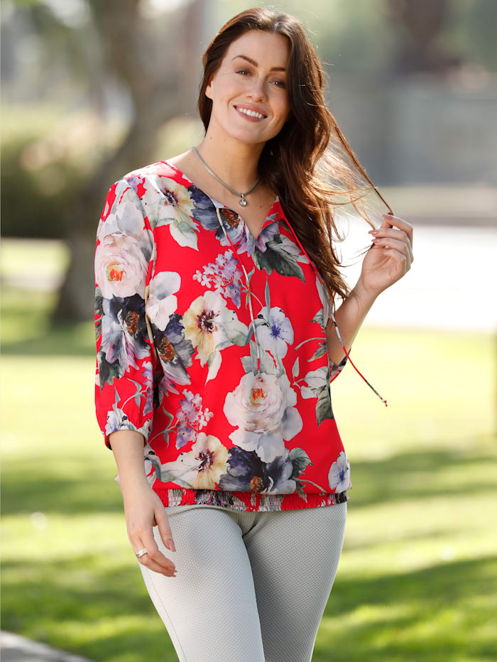 m. collection Blouse met bloemendessin, Rood