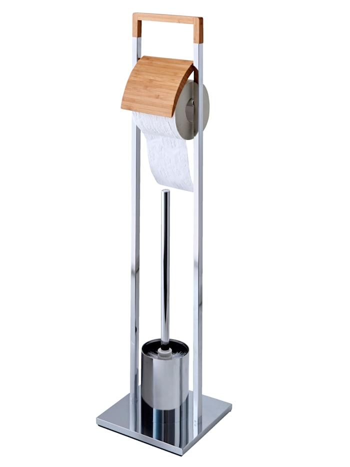 "Zeller WC-paperiteline + WC-harjateline ""Bamboo"", hopeanvärinen/luonnonvaalea"