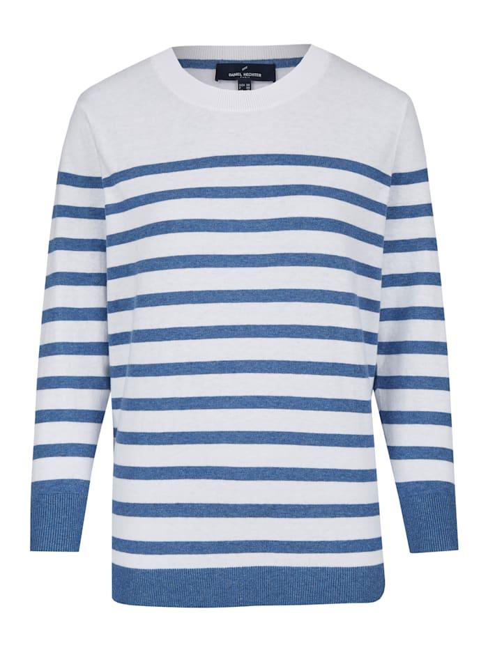 Daniel Hechter Sommerliches Sweatshirt mit Streifenmuster, cornflower blue