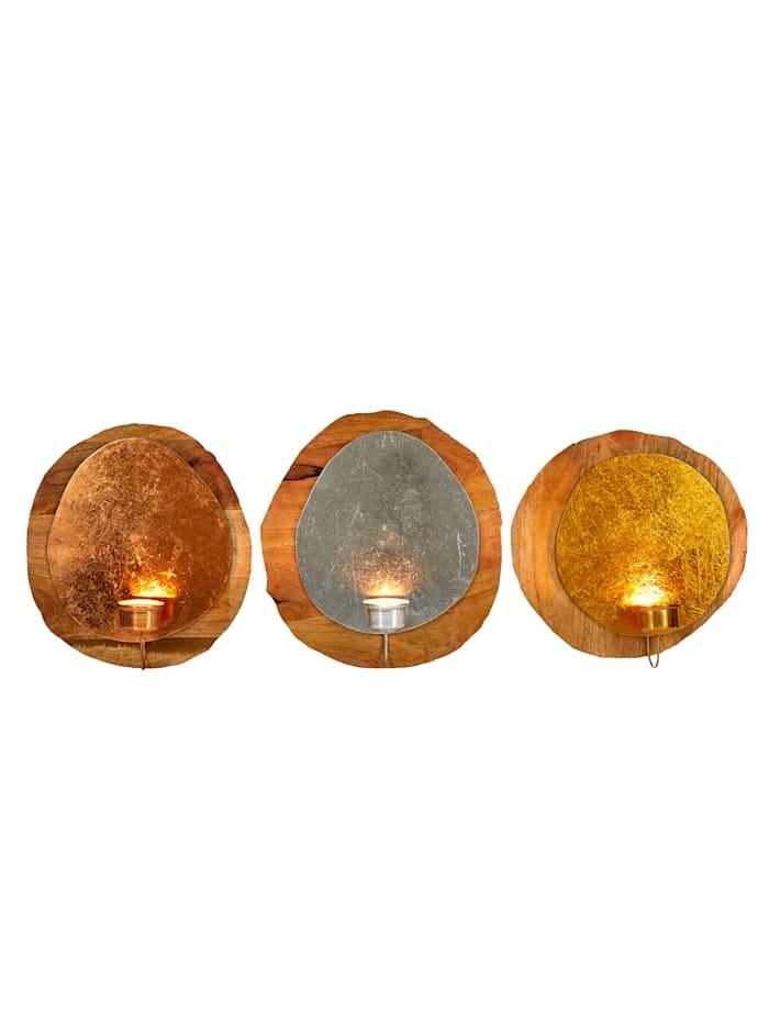 IMPRESSIONEN living Wandteelichthalter-Set, 3-tlg., silber-/kupfer-/goldfarben