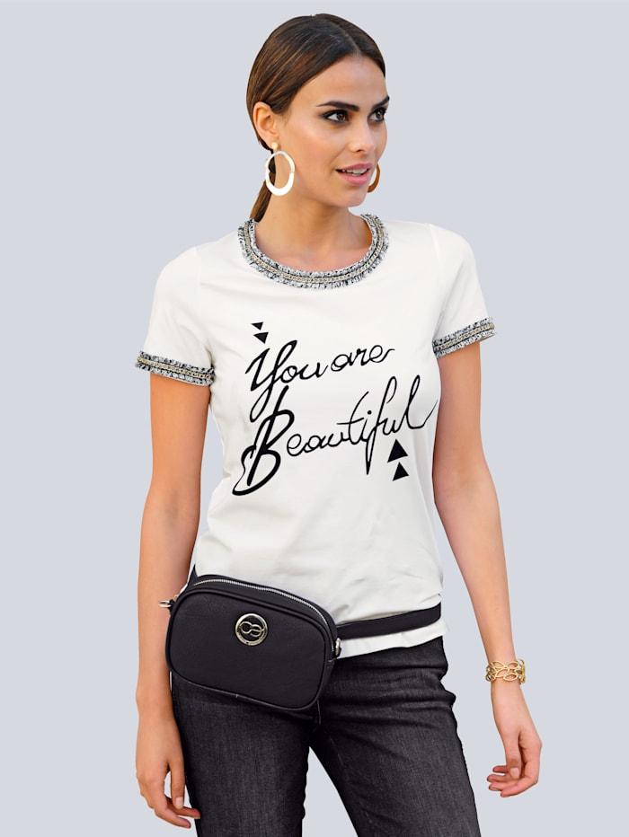Alba Moda Shirt im Vorderteil mit Schriftzug, Weiß/Schwarz