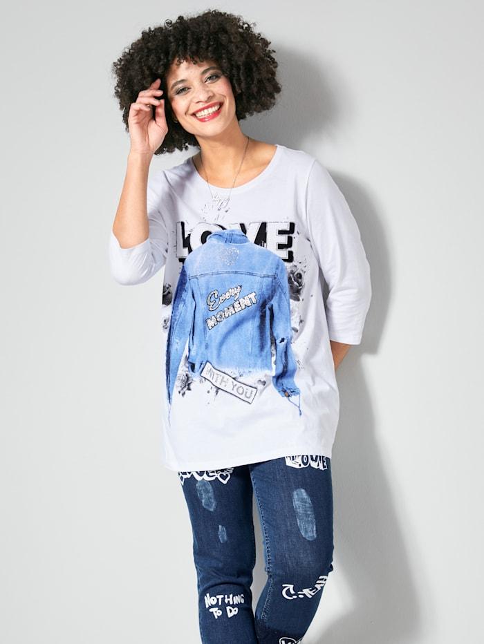 Angel of Style Shirt mit trendigem Print und Dekosteinchen, Weiß