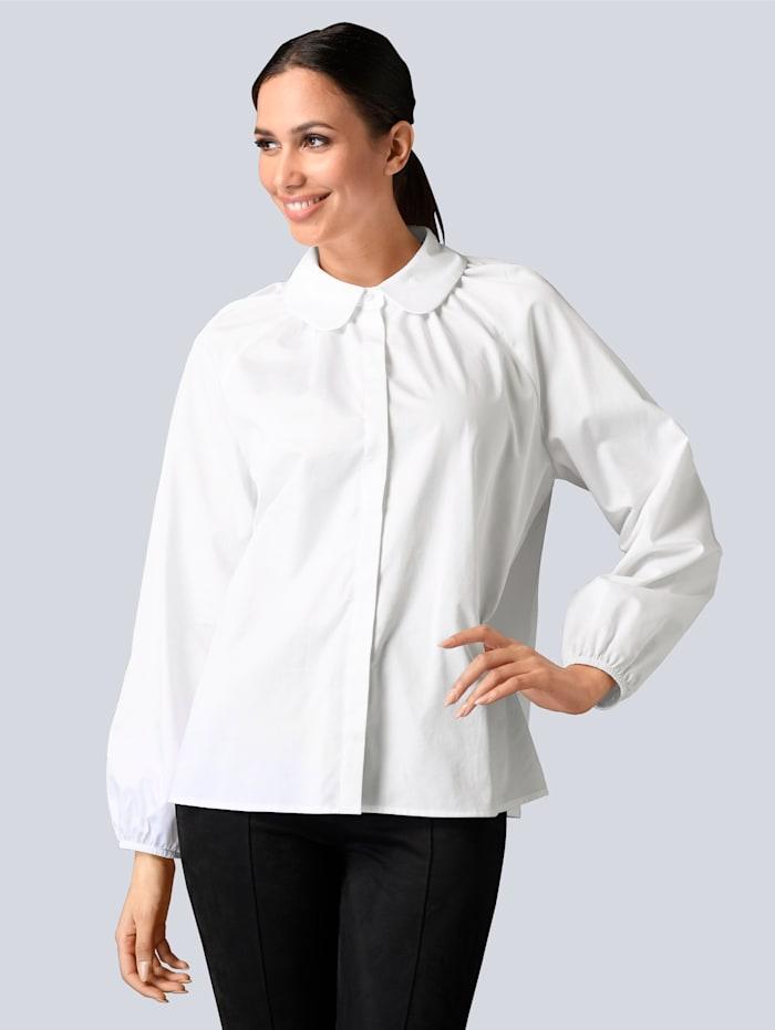 Alba Moda Bluse mit Bubikragen, Weiß