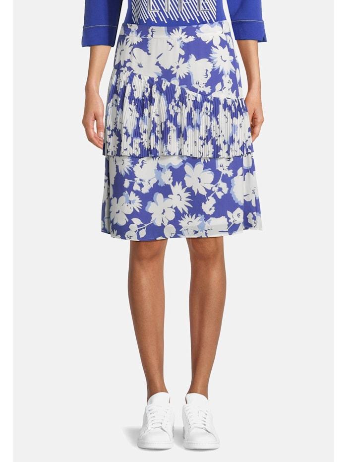 Betty Barclay Plisseerock mit Blumenprint, Blau