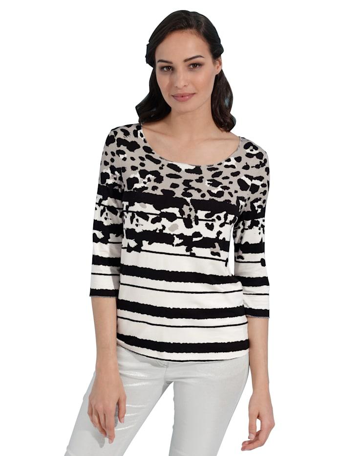 AMY VERMONT Shirt met glansgaren, Offwhite/Zwart