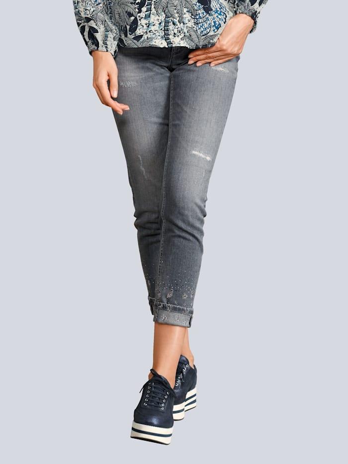 CAMBIO Jeans mit Strasssteinchen am Saum, Grey