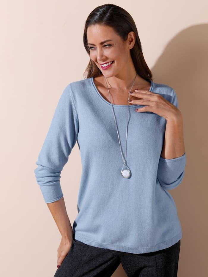 MIAMODA Pullover in hochwertiger Wollqualität mit Kaschmiranteil, Hellblau