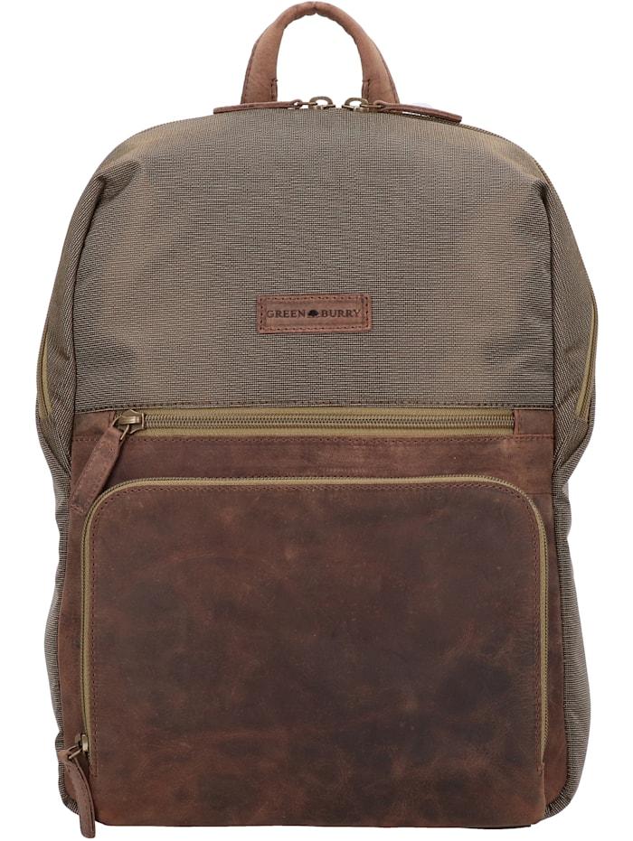 Greenburry Vintage Tec Rucksack 39 cm Laptopfach, brown/olive