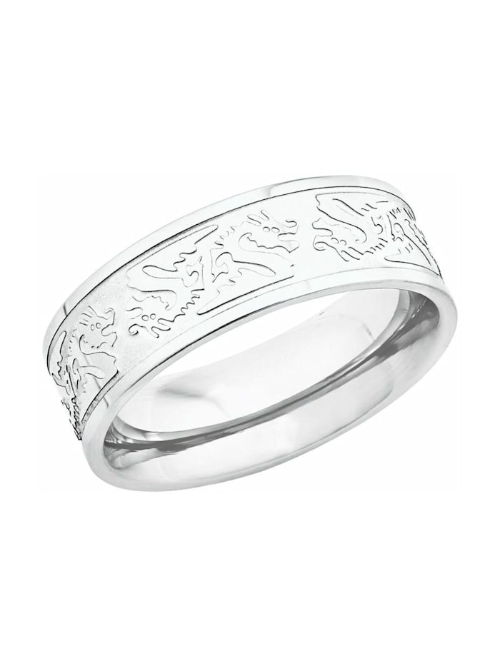 amor Ring für Herren, Edelstahl, Drachen, Silber